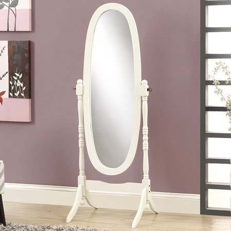 Cheval Mirror, Brown (White Oval), Wood cheval mirror By Crown Mark