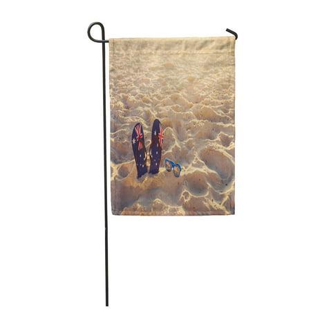 LADDKE Australian Thongs and Sunglasses in Sand on Beach Australia Day Summer Garden Flag Decorative Flag House Banner 28x40 inch