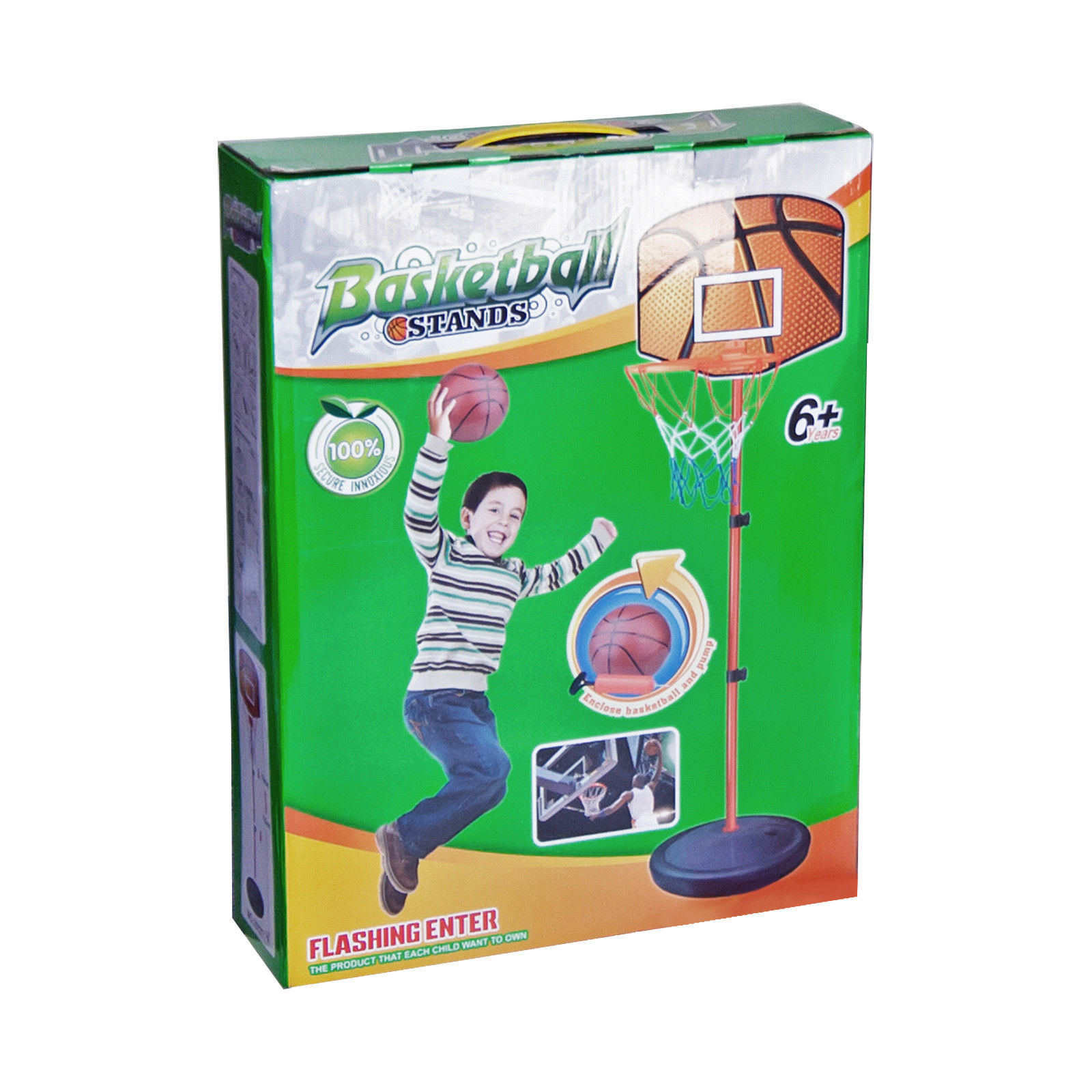 Basketball Stand Height Adjustable Kids Basketball Goal Hoop System Net Toy by