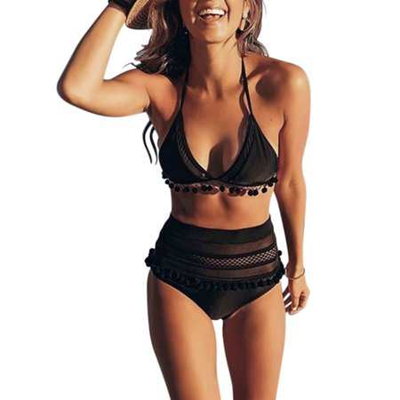 Women's Mesh Striped High Waist Bikini Set Tassel Trim Top Halter Straps Tankini Pom Pom Tassel Trim Swimsutis