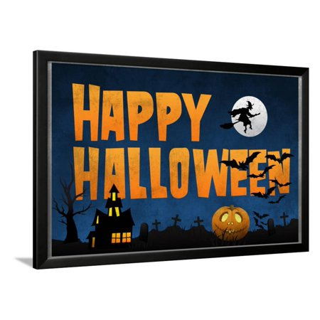 Happy Halloween Framed Poster Wall Art - Black Crowes Halloween Poster