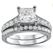 Noori Collection Noori 14k White Gold 1 3/4ct TDW Princess-cut Diamond Bridal Set