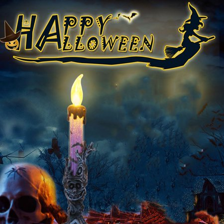 Tuscom 1 pcs Halloween Candle with LED Tea light Candles for Halloween Decoration part - Sculpted Halloween Candles