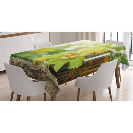 Grapes Vinyl Tablecloth - Wine Tablecloth, White Wine Bottle Glass Young Vine and Bunch of Grapes in Green Spring, Rectangular Table Cover for Dining Room Kitchen, 52 X 70 Inches, Light Green Yellow Brown, by Ambesonne