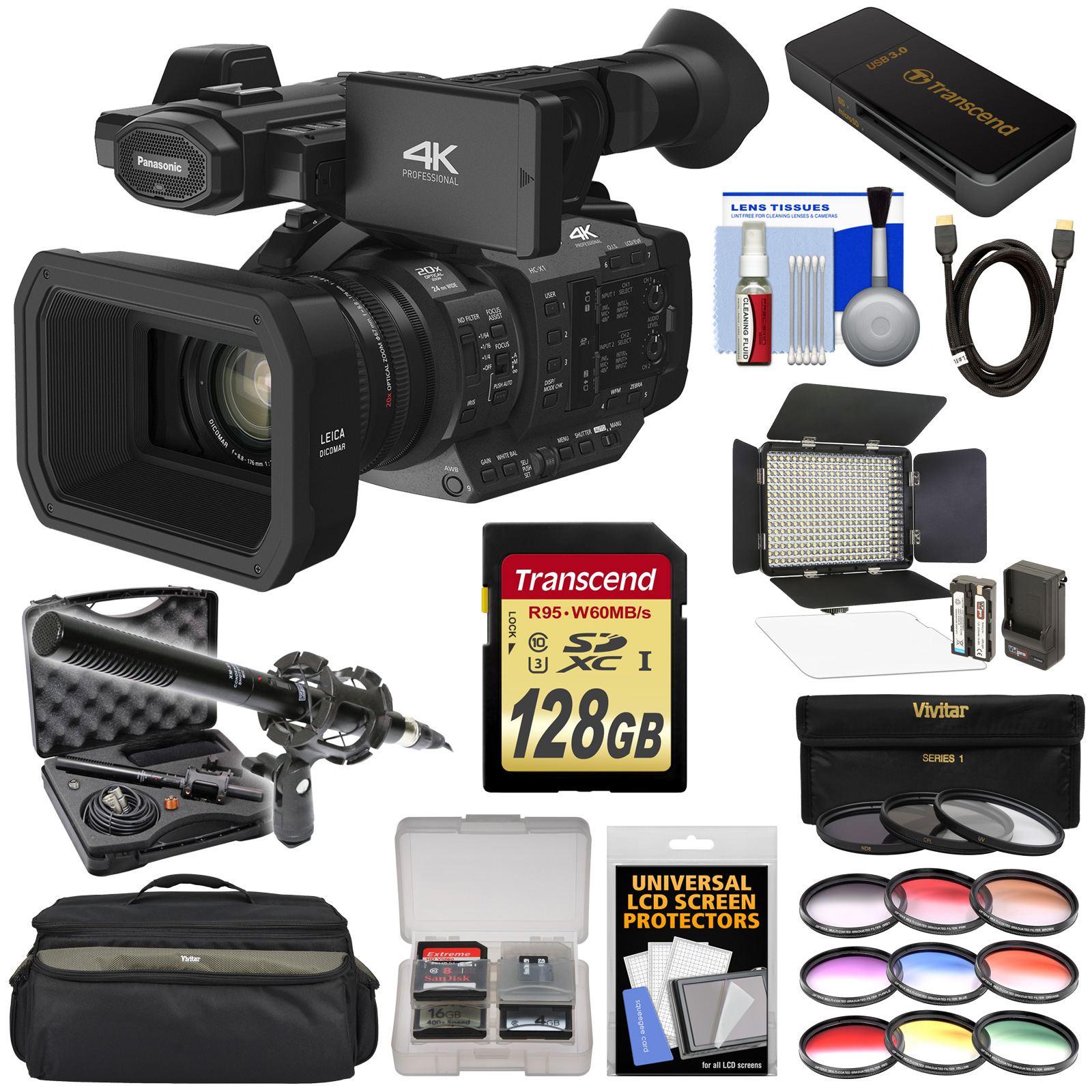 Panasonic HC-X1 4K Ultra HD Video Camera Camcorder with 128GB Card + LED Video Light + Microphone + Case + 12... by Panasonic