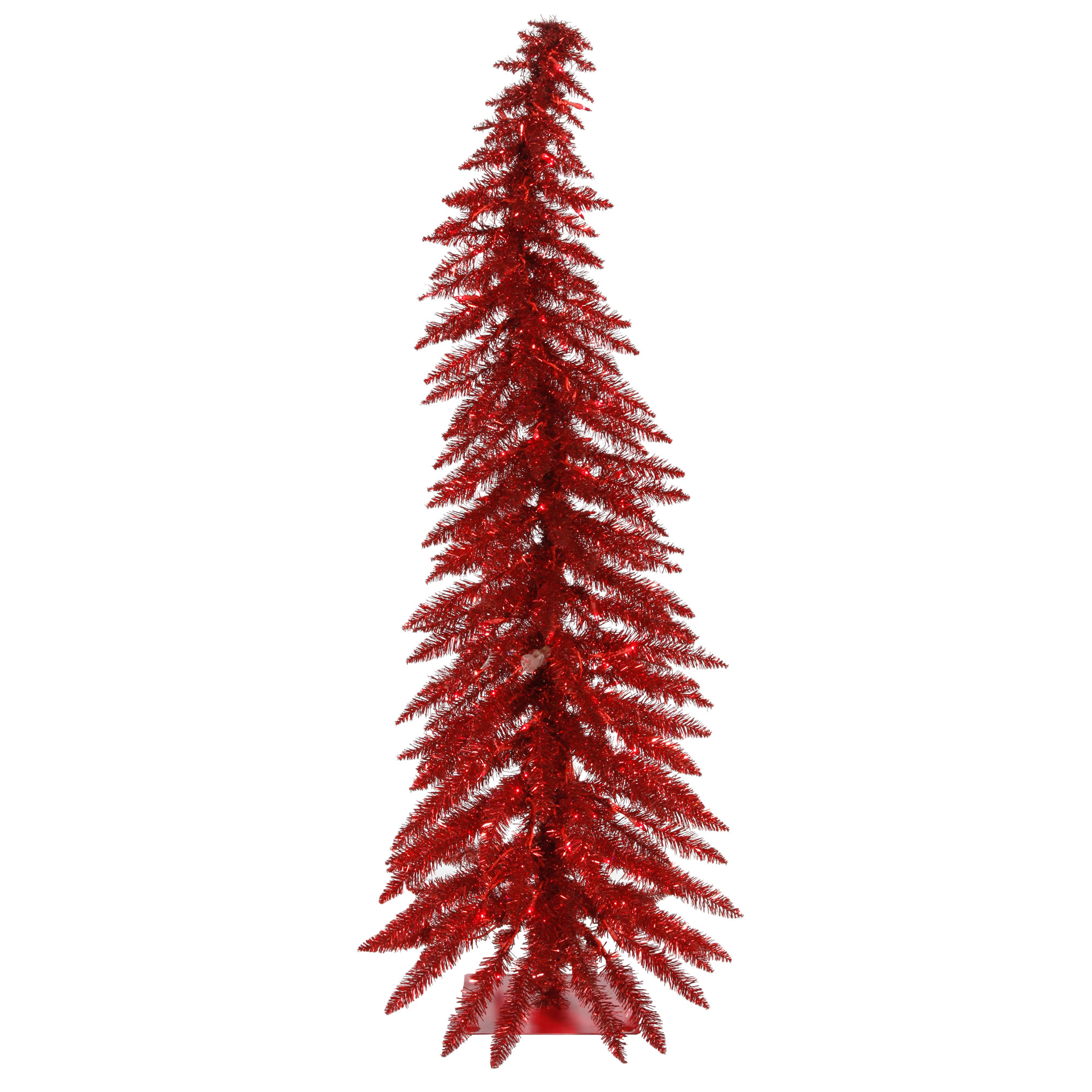 """Vickerman Artificial Christmas Tree 5' x 24"""" Red Whimsical Dura-lit 100 Red Lights 193 Tips"""