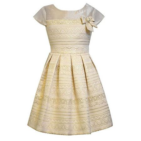 Bonnie Jean Big Girls Tween Aztec Brocade Dress, Gold, 8 (Dresses Tweens)