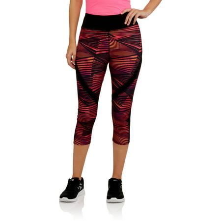 Danskin Now Women's Active Printed Capri Leggings with Mesh Detail ...