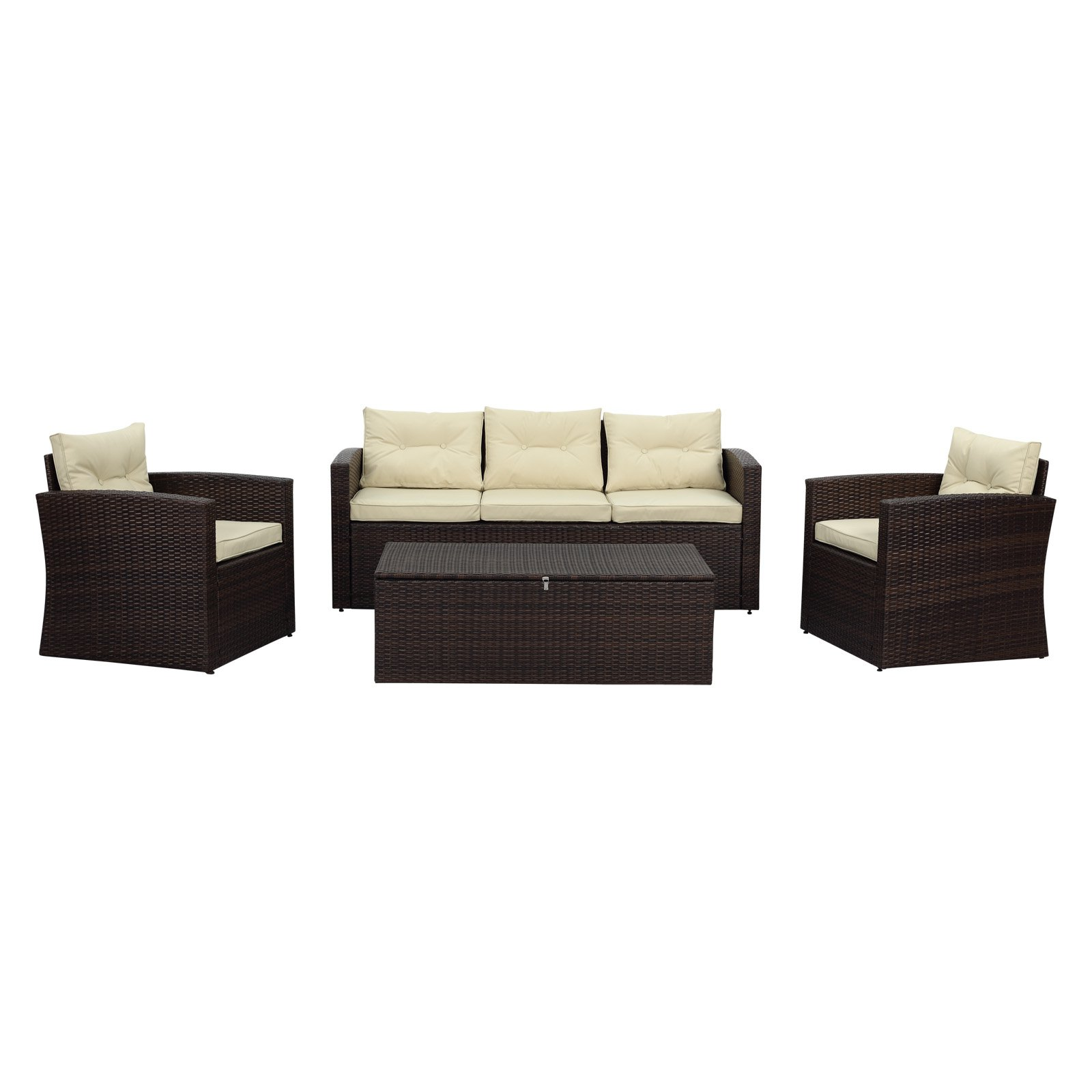 Thy-Hom Rio Wicker 5 Seat All-Weather 4 Piece Patio Conversation Set with Storage by The-Hom