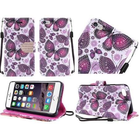 Insten Butterfly Book-Style Leather Fabric Cover Case Lanyard w/stand For Apple iPhone 6s Plus / 6 Plus - Purple/White (Apple Lanyard)
