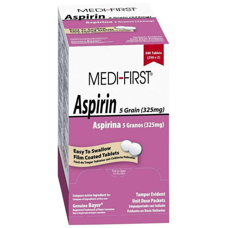 Pain Relief Aspirin 325mg by Medifirst, 2 Boxes ( 1000 tablets ) MS-71215