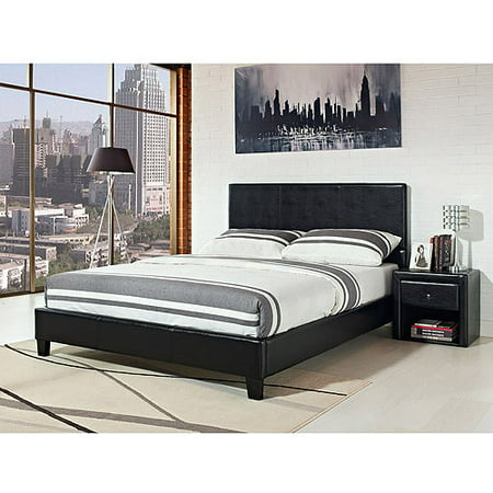 stratus full upholstered bed black faux leather