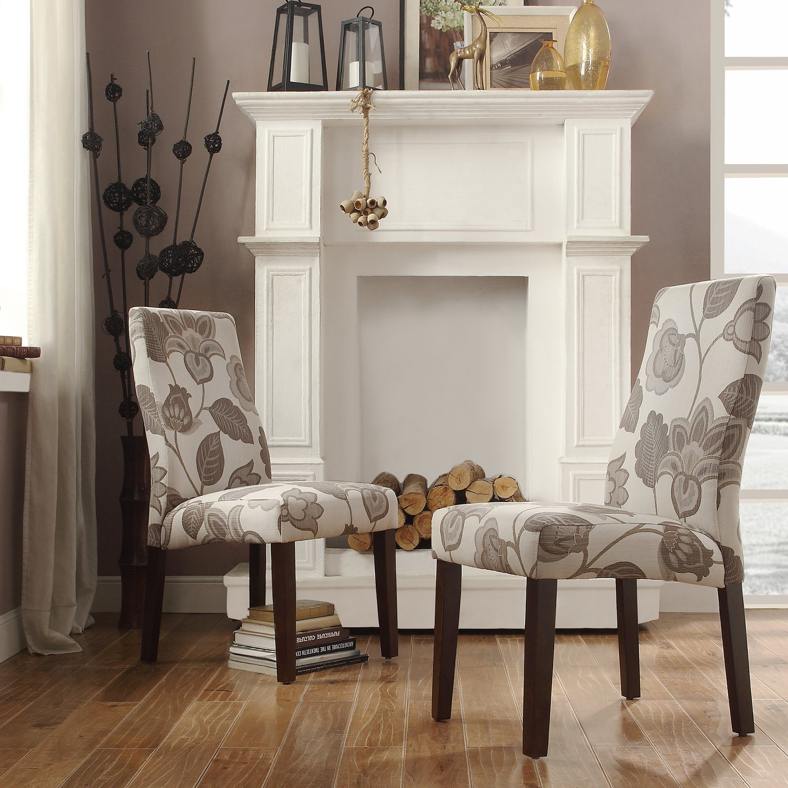 Inspire Q Eaton Wave Back Classic Gray Flower with Leaves Print Fabric Parson Chairs - Set of 2