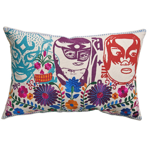 Koko Company Mexico El Santo Print Cotton Lumbar Pillow