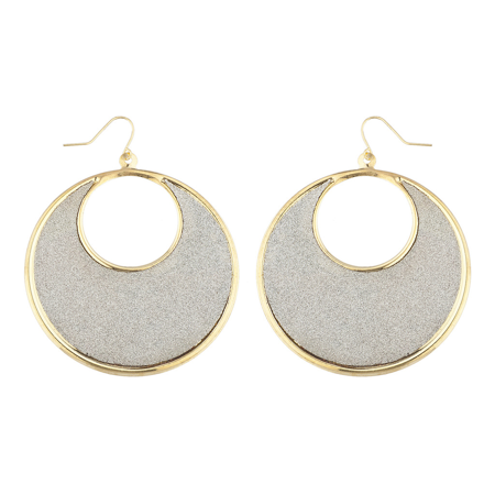 Lux Accessories Goldtone Sticker Glitter Circle Cutout Disk Dangle Earrings