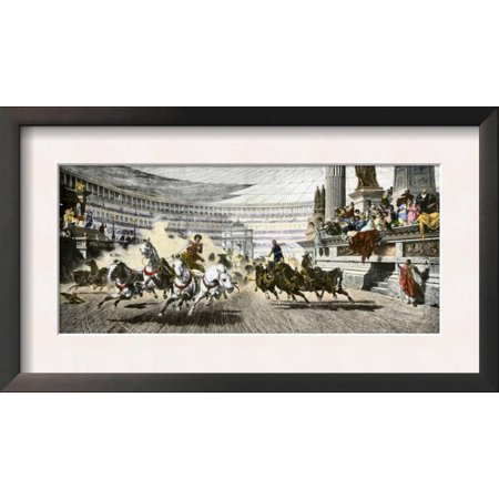 Chariot Race in the Circus Maximus of Ancient Rome Framed Art Print Wall Art  - 18.5x6.5