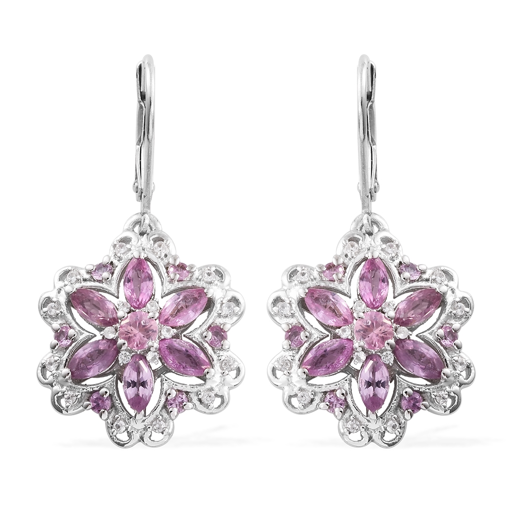 Pink Sapphire, Zircon Platinum Plated Silver Lever Back Earrings 2.74 cttw. by Shop LC