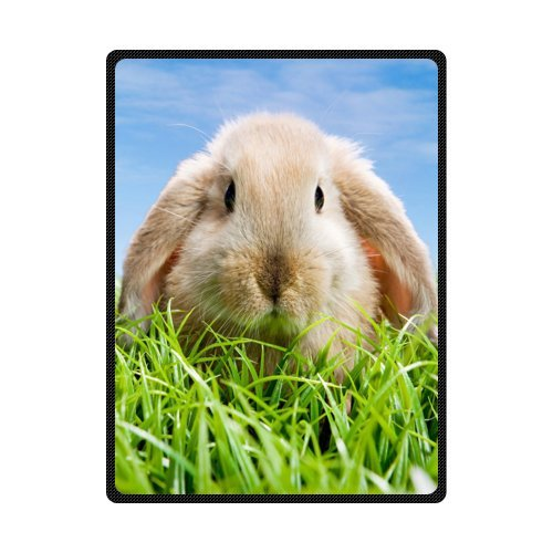 CADecor Cute Easter Bunny In The Green Grass Blue Sky Fleece Blanket Throws 58x80 inches