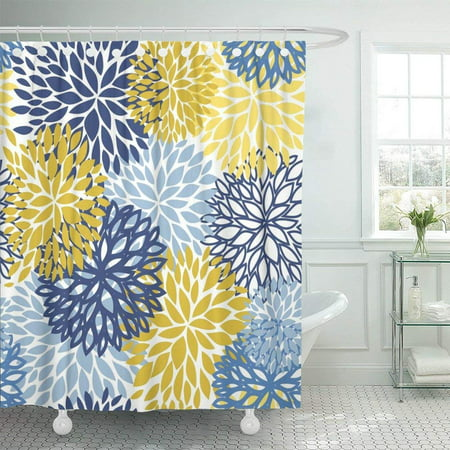 ARTJIA Green Floral Spring Flower Blue Yellow and Navy Chrysanthemum for Design Brown Aster Grey Abstract Shower Curtain 60x72 (Blue Floral Spring)