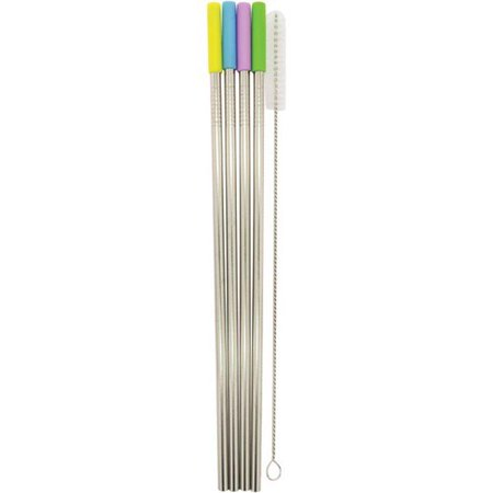 Starfrit 092848-006-0000 Stainless Steel Straight Reusable Straws with  Silicone Tips - Pack of 4