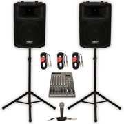 """Podium Pro PP1203A Powered 12"""" PA DJ Speaker Pair with 12 Channel Mixer Mic Stands and Cables"""
