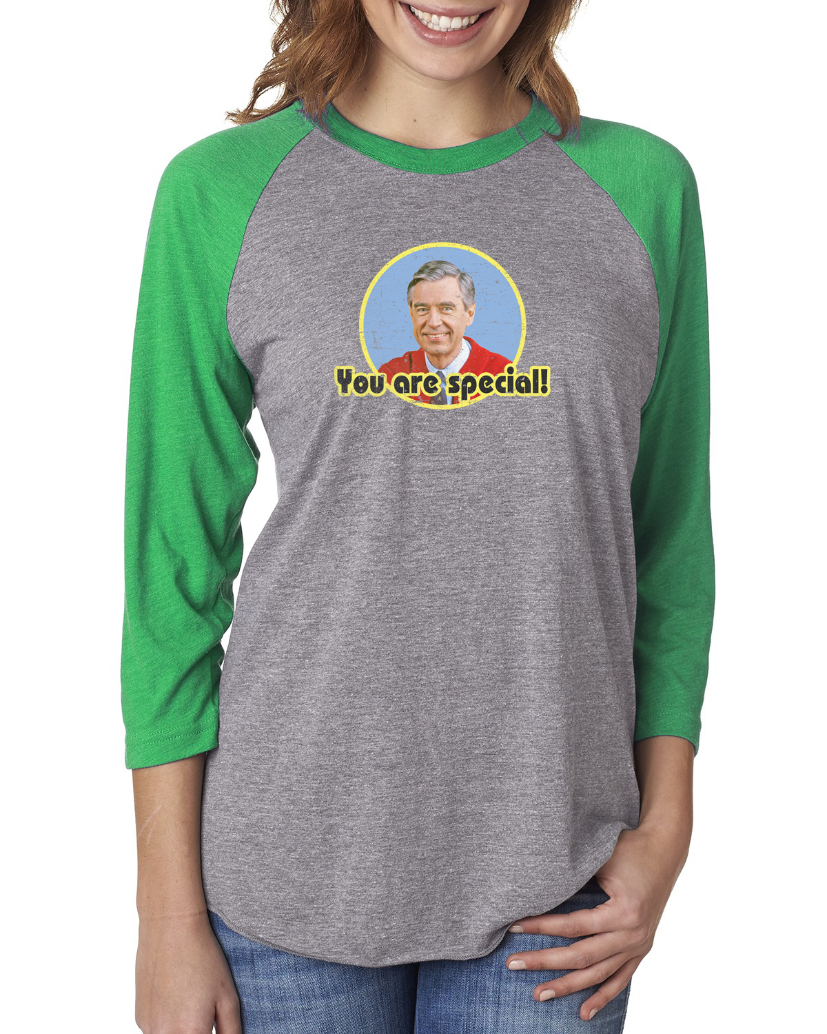 Custom Apparel R Us Mr Rogers You Are Special Women Graphic Tees 3 4 Raglan Sleeve Walmart Com