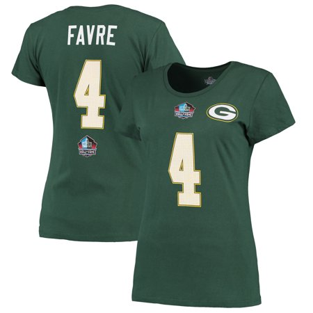 newest 07f65 fef1a Brett Favre Green Bay Packers Majestic Women's Hall of Fame Fair Catch Name  & Number T-Shirt - Green