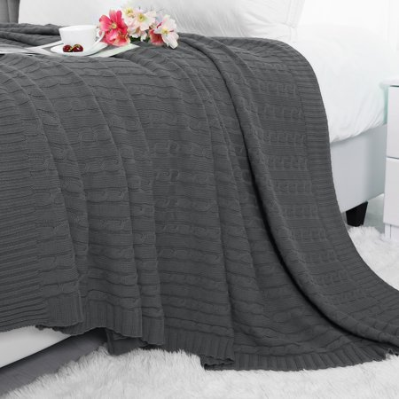 Super Soft Warm 100 Cotton Cable Knit Throw Blanket For Sofa Couch Bedding Home Dark Grey 70 X 78 Inch