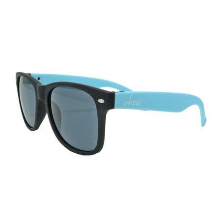 Gear Sunglasses (Rheos Gear UV400 Rubberized Blue/Black with Grey Lens)