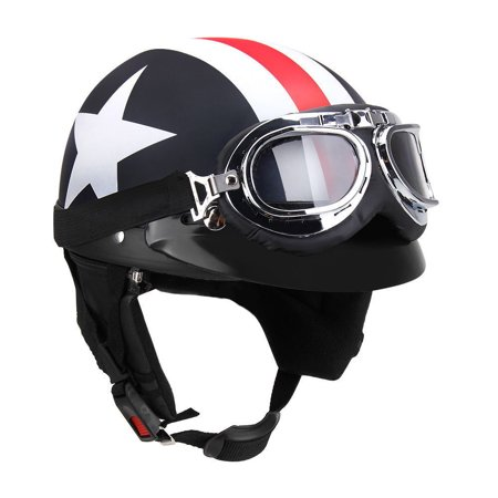 Half Open Face Motorcycle Helmet with Goggles Visor Scarf Biker Scooter Touring Helmet for