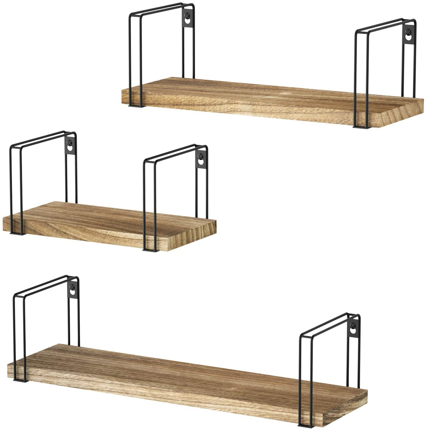 Rustic Floating Shelves, Wood Wall Shelves Set Of 3, Wall Mounted Hanging Shelves For Bedroom, Living Room, Kitchen, Bathroom - Walmart.com - Walmart.com