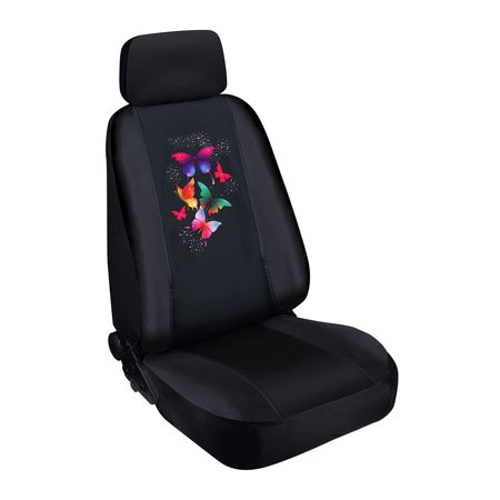 Pilot Automotive SWR-0132 Seat Cover (Special Edition Butterfly Swarovski Crystal Embellished - Black Faux Leather/Neoprene)