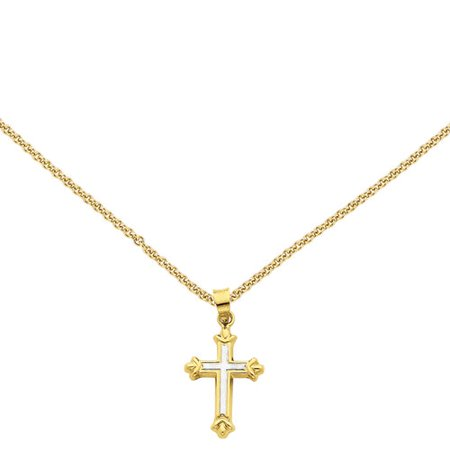14kt Yellow Gold with Rhodium Hollow Cross Pendant