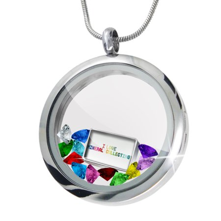 Floating Locket Set I Love Mineral Collecting Colorful   Neonblond
