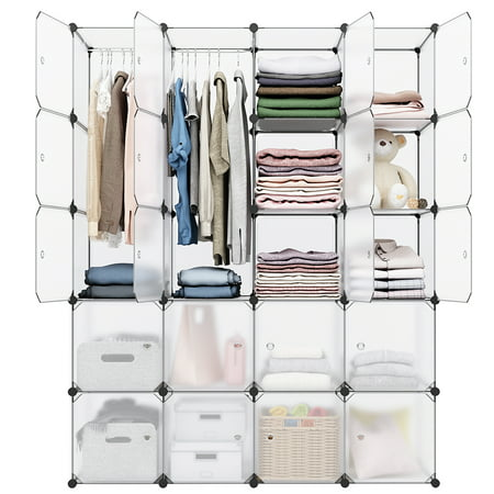 20-Cube Organizer Stackable Plastic Cube Storage Shelves Design Multifunctional Modular Closet Cabinet with Hanging Rod for Clothes Shoes (White) ()
