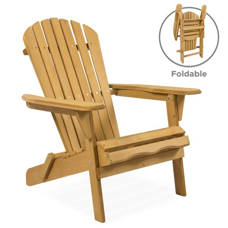 Best Choice Products Outdoor Adirondack Wood Chair Foldable Patio Lawn Deck Garden Furniture ()