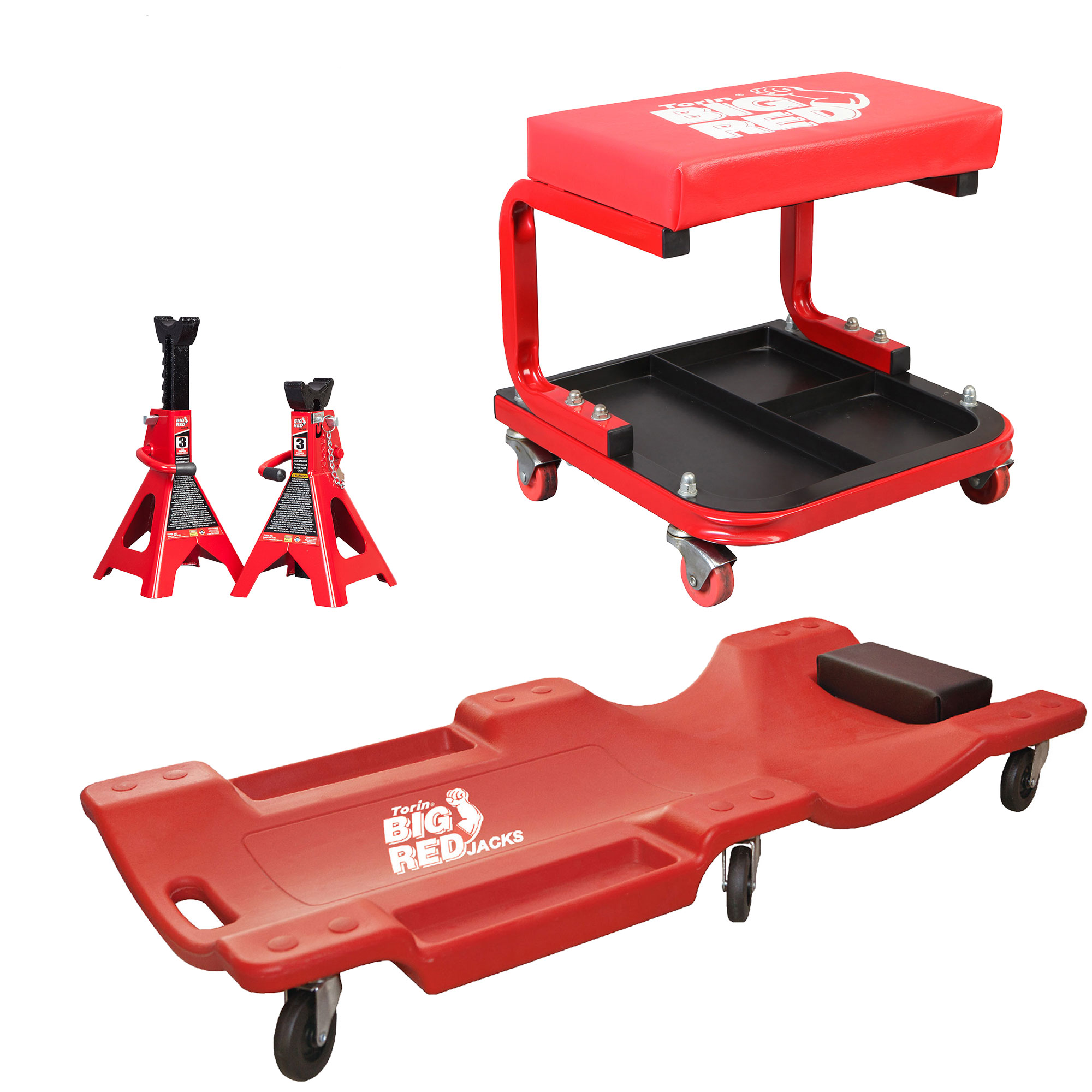 Torin Rolling Creeper Padded Seat Stool with Tool Tray w/ Jack Stands and Cart