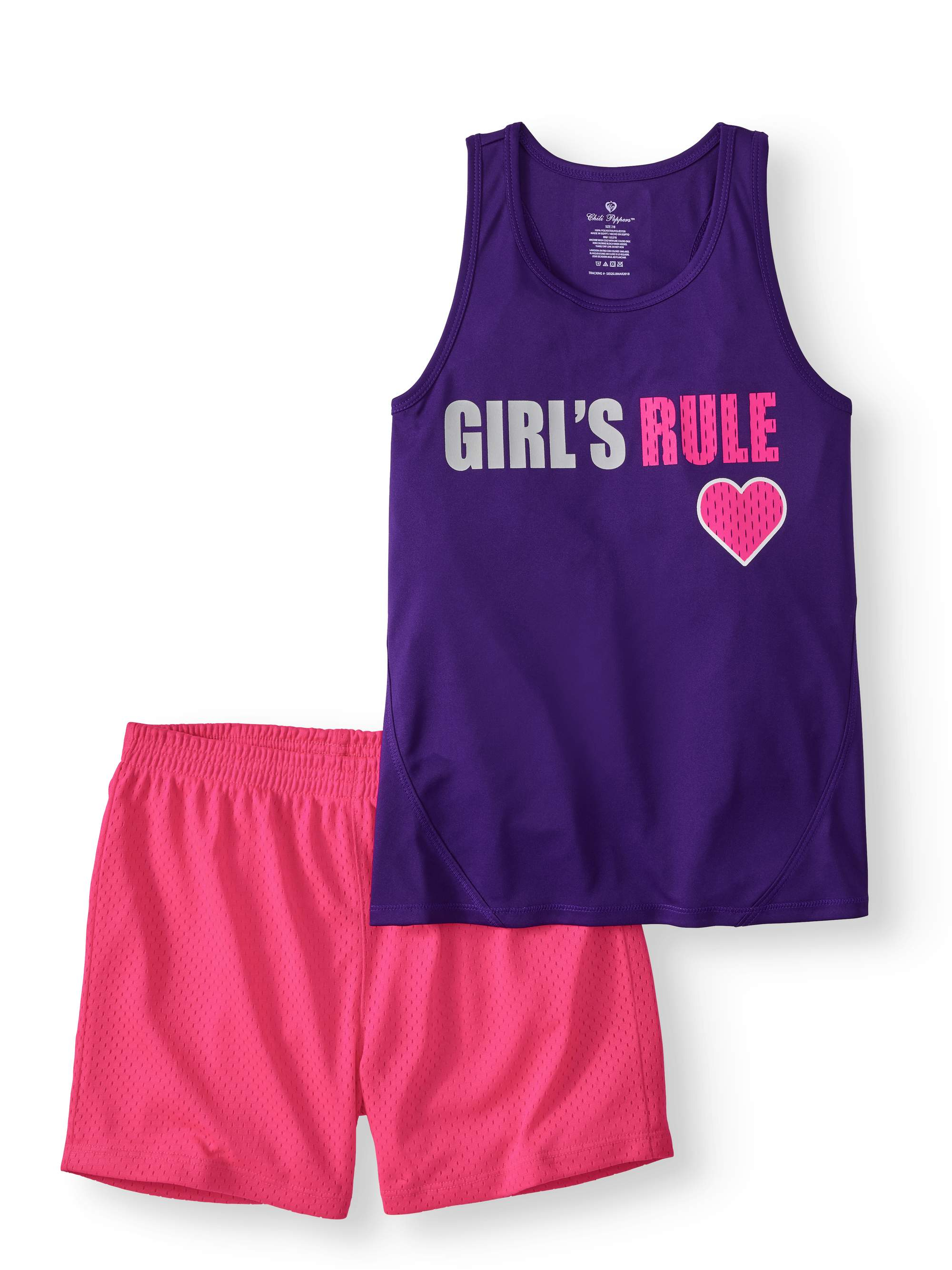 Girls' Graphic Tank Top and Colorblock Mesh Short 2-Piece Active Set