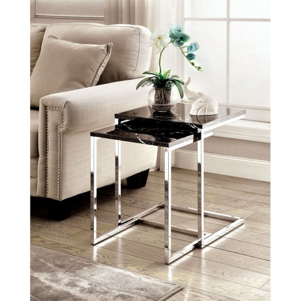 Furniture Of America Alena 2 Piece Faux Marble Nesting Table In Black Walmart Com Walmart Com