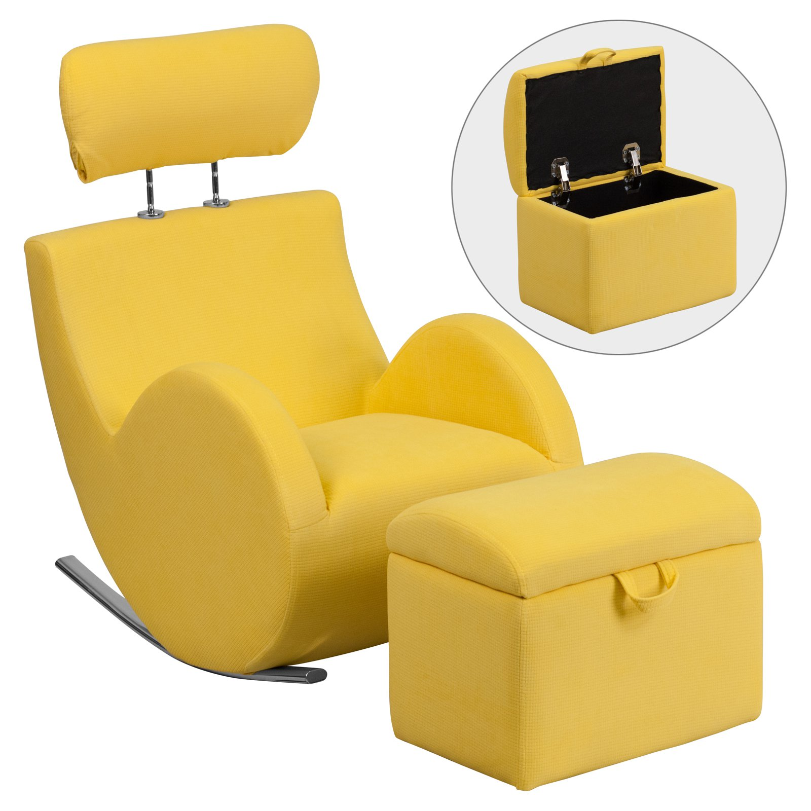 Flash Furniture HERCULES Series Fabric Rocking Chair with Storage Ottoman, Multiple Colors
