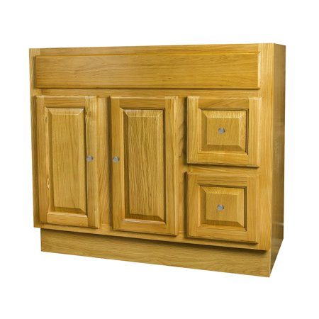36x18 Raised Panel Oak Bathroom Cabinet with 2 doors and 2 drawers