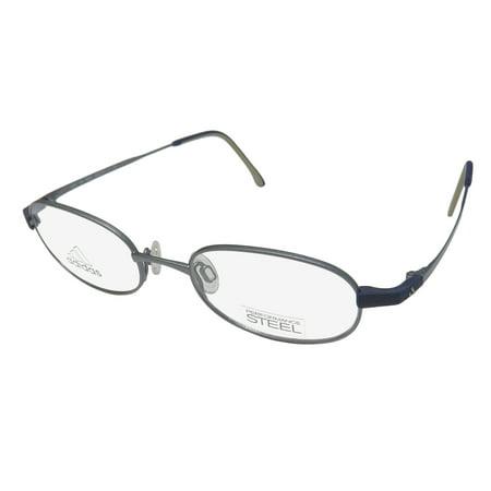 New Adidas A974 Unisex/Boys/Girls/Kids Oval Full-Rim Slate / Navy Signature Logo Hot Children Kids Frame Demo Lenses 46-18-130 Eyeglasses/Eyeglass - Adidas Lens