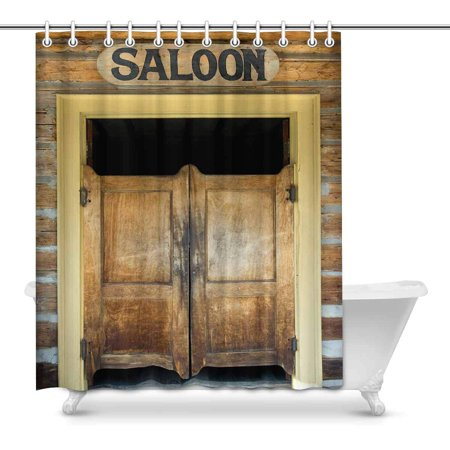 MKHERT Saloon Doors Old Western Building In Montana Ghost Town Home Decor Waterproof Polyester Fabric Shower Curtain Bathroom Sets Hooks 60x72 inch - Old Western Decor