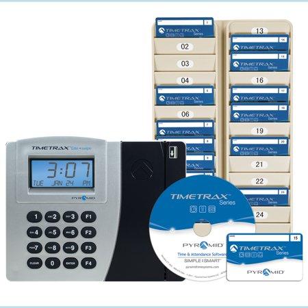 Badge System (Pyramid TimeTrax Elite (PSDLAUBKK) Automated Swipe Card Time Clock System Bundle, includes software, 50 swipe cards, 24 pocket badge rack )