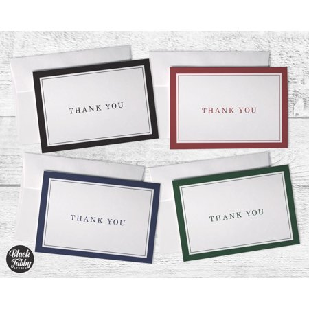 Hand Bordered Correspondence Cards - Business Formal Thick Border - Thank You Cards
