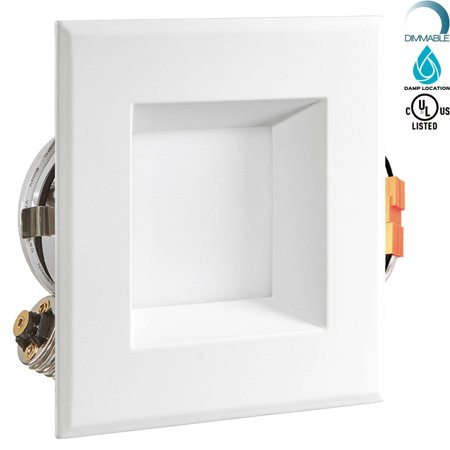 Install Recessed Light Fixtures (4 Inch LED Square Recessed Light Fixture, Luxrite, 10W (60W Equivalent), 3000K Soft White, 650 Lumens, ENERGY STAR, Dimmable LED Downlight, 90° Beam Angle, UL Listed, Damp Rated, E26 Base, 1-Piece )