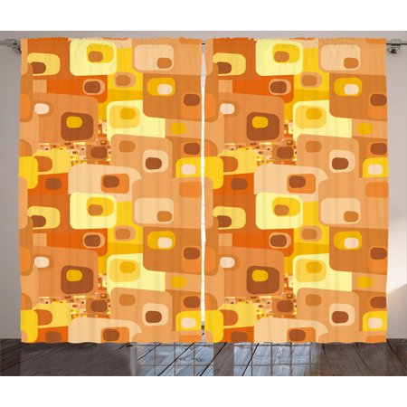 retro curtains 2 panels set abstract square pattern rounded funky geometric modern ornament tiled illustration - Retro Curtains