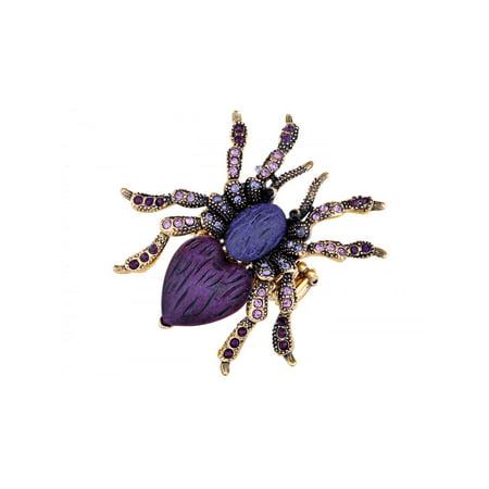 Fashion Jewelry Stretchy Golden Tone Purple Rhinestones Heart Spider Tarantula Ring