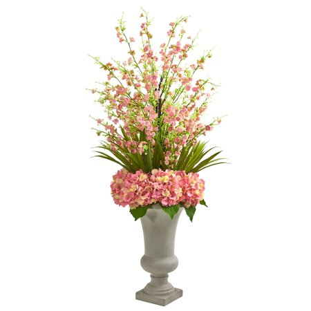 Pressboard Natural Cherry (Nearly Natural  Cherry Blossom and Hydrangeas Multicolor Artificial Flower Arrangement in Sand-colored Urn)
