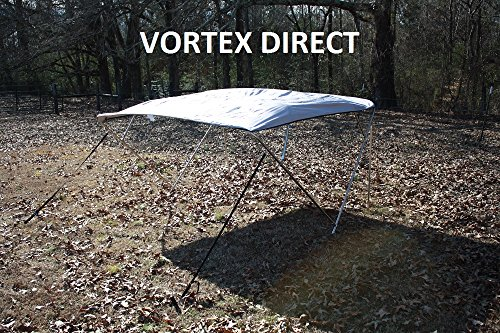 "New GREY GRAY STAINLESS STEEL FRAME VORTEX 4 BOW PONTOON DECK BOAT BIMINI TOP 8' LONG, 97-103"" WIDE (FAST SHIPPING... by VORTEX DIRECT"